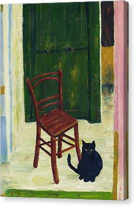 The  Black Cat Canvas Print by Hartmut Jager