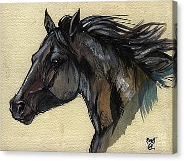 The Black Horse Canvas Print by Angel  Tarantella