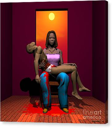 The Black Pieta Canvas Print by Walter Oliver Neal