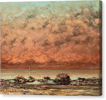 The Black Rocks At Trouville Canvas Print by Gustave Cobert