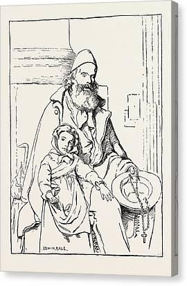 The Blind Beggar Canvas Print by Bale, Edwin (1838-1923), English