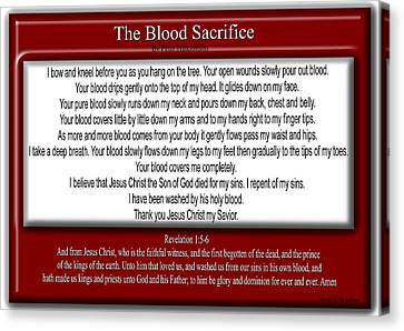 Crucify Digital Art Canvas Print - The Blood Sacrifice by Bible Verse Pictures