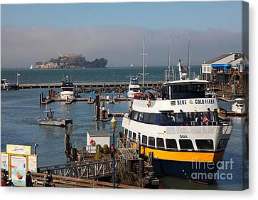 Alcatraz Canvas Print - The Blue And Gold Fleet Ferry Boat At Pier 39 San Francisco California 5d26043 by Wingsdomain Art and Photography