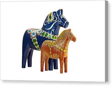 The Blue And Red Dala Horse Canvas Print