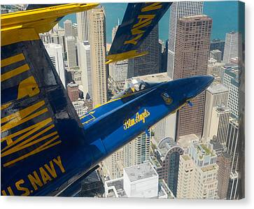 The Blue Angels Over Chicago Canvas Print by Specialist 1st Class Michael Lindsey