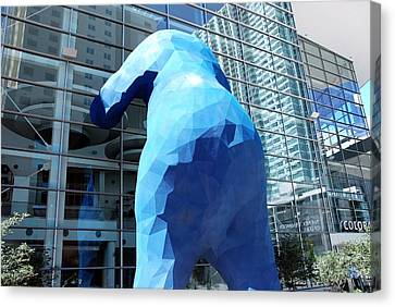 Canvas Print featuring the photograph The Blue Bear by Dany Lison