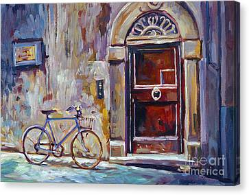 The Blue Bicycle Canvas Print by David Lloyd Glover