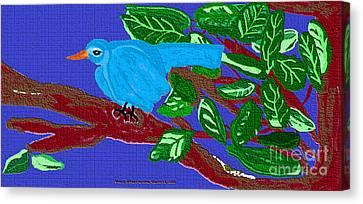 The Blue Bird Canvas Print by Sherry  Hatcher