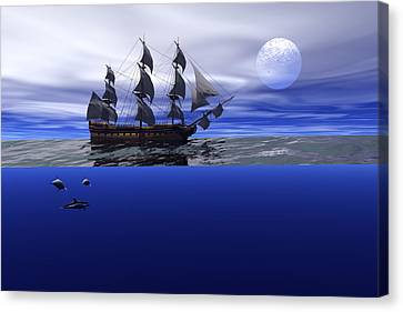 Canvas Print featuring the digital art The Blue Deep by Claude McCoy