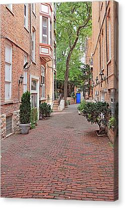 The Blue Door - Gaslight Court Chicago Old Town Canvas Print by Christine Till