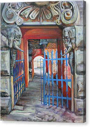 Canvas Print featuring the painting The Blue Gate by Marina Gnetetsky