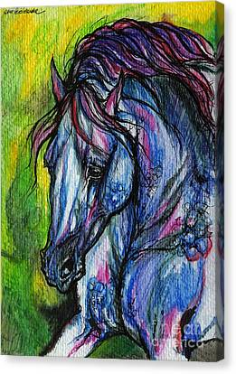 The Blue Horse On Green Background Canvas Print by Angel  Tarantella
