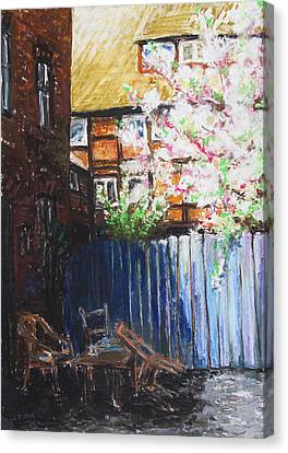 The Blue Paling - Backyard Of The Arthouse Buetzow Canvas Print by Barbara Pommerenke