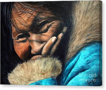 First Nations Canvas Print - The Blue Parka by Joey Nash