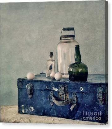 The Blue Suitcase Canvas Print by Priska Wettstein