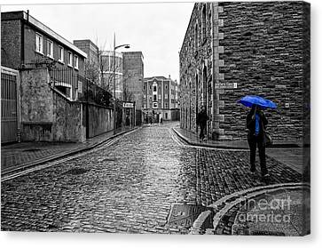 The Blue Umbrella - Sc Canvas Print by Mary Carol Story