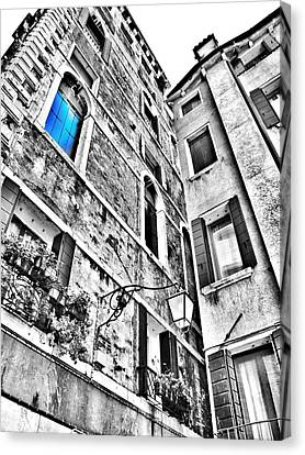 The Blue Window In Venice - Italy Canvas Print by Marianna Mills