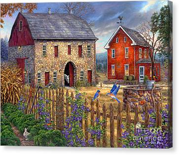 Country Cottage Canvas Print - The Bluebirds' Song by Chuck Pinson