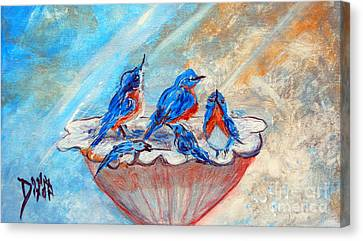 Canvas Print featuring the painting The Blues by Donna Dixon