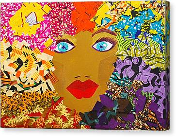 Canvas Print featuring the tapestry - textile The Bluest Eyes by Apanaki Temitayo M