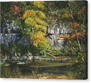 The Bluffs River Trail Canvas Print by Don  Langeneckert