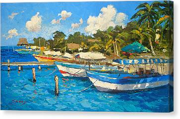 The Boat By The Shore Canvas Print by Dmitry Spiros
