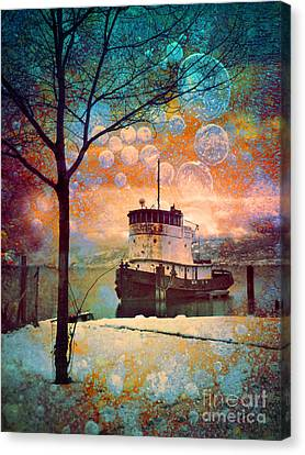 The Boat In Winter Canvas Print by Tara Turner