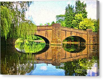 The Boating Lake At Thompson Park Burnley Canvas Print by Peter McHallam