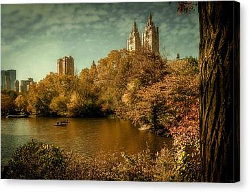 The Boating Lake In Fall Canvas Print by Chris Lord