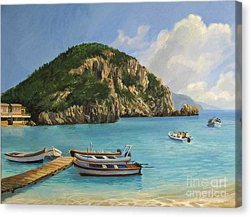 The Boats Of Paleokastritsa Canvas Print by Kiril Stanchev