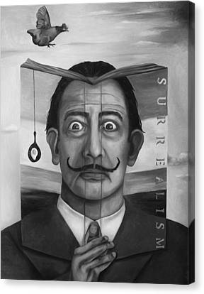 The Book Of Surrealism Bw Canvas Print by Leah Saulnier The Painting Maniac