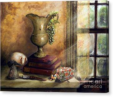 The Books By The Window Canvas Print by Sandra Aguirre