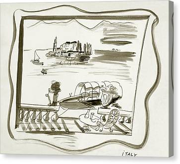 January Canvas Print - The Borromean Island On Lake Maggiore In Italy by Ludwig Bemelmans