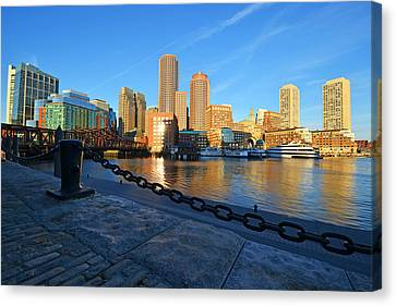 The Boston Waterfront In Morning Light Canvas Print by Toby McGuire
