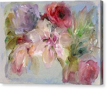 Canvas Print featuring the painting The Bouquet by Mary Wolf