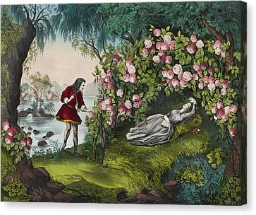 The Bower Of Roses Circa 1856 Canvas Print by Aged Pixel