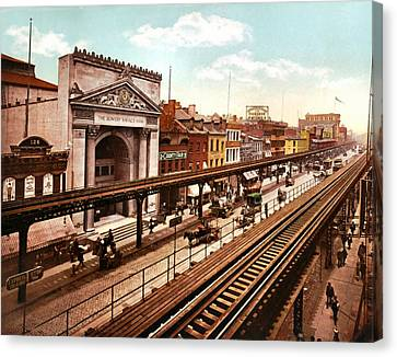 The Bowery New York City 1900 Canvas Print by Unknown