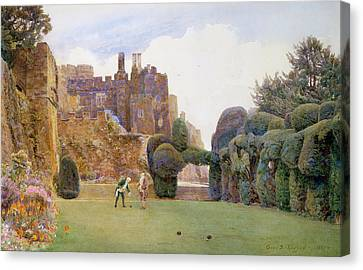 The Bowling Green, Berkeley Castle Canvas Print by George Samuel Elgood