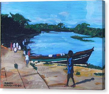 Canvas Print featuring the painting The Boy Porter  Sierra Leone by Mudiama Kammoh