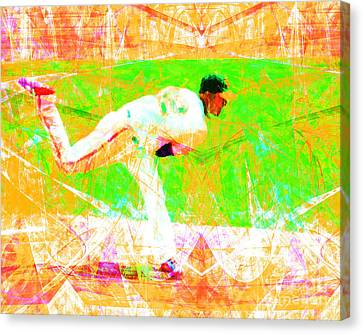 New York Baseball Parks Canvas Print - The Boys Of Summer 5d28161 The Pitcher V1 by Wingsdomain Art and Photography