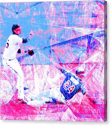 New York Baseball Parks Canvas Print - The Boys Of Summer 5d28208 The Double Play Square V2 by Wingsdomain Art and Photography