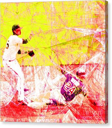 New York Baseball Parks Canvas Print - The Boys Of Summer 5d28208 The Double Play Square V3 by Wingsdomain Art and Photography