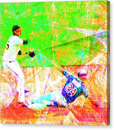 New York Baseball Parks Canvas Print - The Boys Of Summer 5d28208 The Double Play Square by Wingsdomain Art and Photography