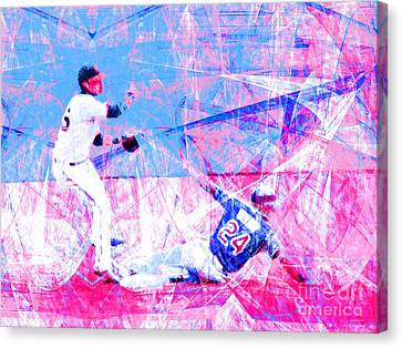 New York Baseball Parks Canvas Print - The Boys Of Summer 5d28208 The Double Play V2 by Wingsdomain Art and Photography