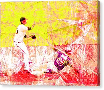 New York Baseball Parks Canvas Print - The Boys Of Summer 5d28208 The Double Play V3 by Wingsdomain Art and Photography