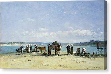 The Breton Fishermens Wives Canvas Print by Eugene Louis Boudin