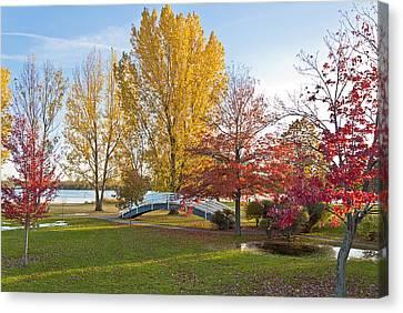 The Bridge In Autumn Canvas Print
