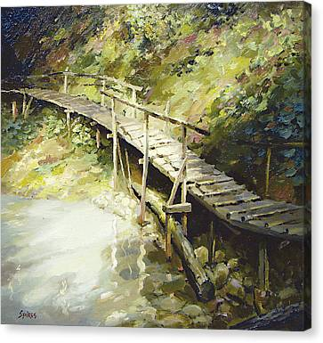 Canvas Print featuring the painting The Bridge In The Mountains by Dmitry Spiros