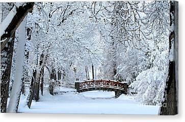 The Bridge In Winter Canvas Print