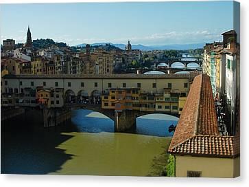 The Bridges Of Florence Italy Canvas Print by Georgia Mizuleva